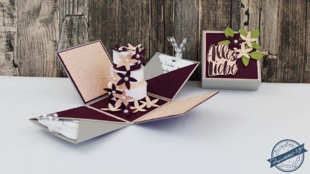 Hochzeits-Explosionsbox m. Torte